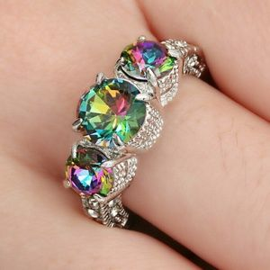 5/$25 Rainbow Sapphire white Rhodium Plated Ring